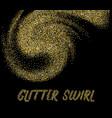 golden glitter swirl on dark template vector image