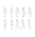 group of people standing on white background vector image