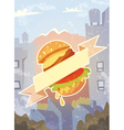 Grungy background with burger and ribbon vector image vector image