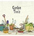 Hand drawn gardening tools album cover vector image vector image