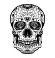 hand drawn sugar skull isolated on white vector image vector image