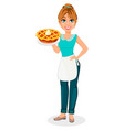 happy housewife cheerful mother vector image vector image