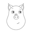 head of trusting pig in outline style kawaii vector image vector image
