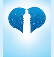 heart with water drops and shape of bottle vector image vector image