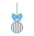 merry christmas balls with bow decorative vector image