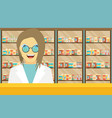 modern flat of a female pharmacist at the counter vector image