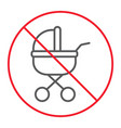 no baby carriage thin line icon prohibition vector image vector image