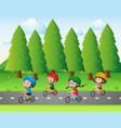 park scene with kids riding bike vector image vector image