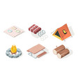 picnic isometric bbq equipment fire camp fresh vector image vector image