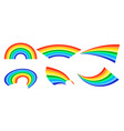 rainbows in different shape realistic set on white vector image vector image