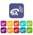 retro phone icons set vector image vector image