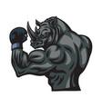 rhino mascot character design logo vector image vector image