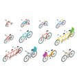 set isolated bicycle or bike for ride vector image