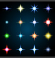 set of various starry flare elements vector image vector image