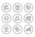 set round line icons of hearing aid vector image vector image