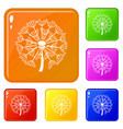 spring dandelion icons set color vector image vector image