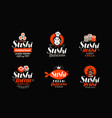 sushi logo or label japanese food seafood vector image vector image