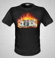 t shirts Black Fire Print man 06 vector image vector image