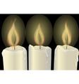 three burning candles vector image vector image