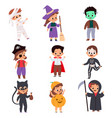 trick or treating kids cartoon boys vector image vector image
