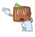 waiter wallet mascot cartoon style vector image