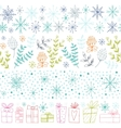 Winter hand drawn seamless borders collection vector image vector image