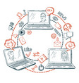 social network communication share information vector image