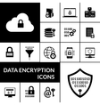 Data Encryption Black Icons Composition Banner vector image