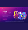 animal shelter concept landing page vector image vector image
