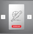 baseball basket ball game fun line icon in vector image vector image