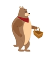 bear picnic basket draw vector image