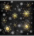black background with golden snowflakes vector image