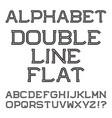 black letters double line flat font vector image