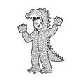boy kid dressed as dinosaur sketch vector image