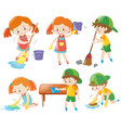 boys and girls doing chores vector image vector image