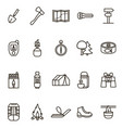 camping hiking signs black thin line icon set vector image vector image