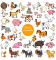 cartoon farm animal characters big set vector image