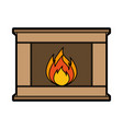 christmas fireplace icon vector image