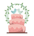 colorful background with wedding cake and pigeons vector image vector image