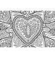 coloring book page with rectangle art with heart vector image vector image