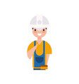 construction worker character builder in overall vector image