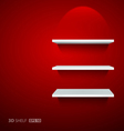 Empty white ehelf for exhibit on red background vector image vector image