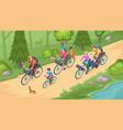 family biking tourism bicycle travel isometric vector image