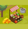 farmers market stall composition vector image vector image