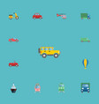 flat icons boat lorry airship and other vector image vector image