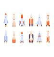 flat rocket space rockets spaceship start up or vector image