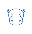 funny hippo line icon concept funny hippo flat vector image
