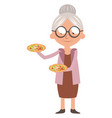granny with pizza on white background vector image vector image