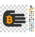 hand give bitcoin icon with bonus vector image vector image
