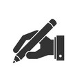 hand holding pen icon vector image